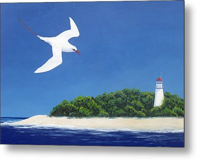 Tropic Bird And Light House Metal Print