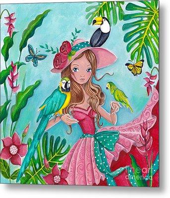 Tropical Bird Love Metal Print by Caroline Bonne-Muller