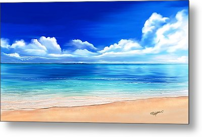 Metal Print featuring the drawing Tropical Blue by Anthony Fishburne