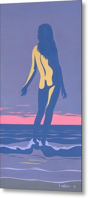 Tropical Exotic Nude Surf Sunset Tasteful Original Pop Art Nouveau 80s Painting Purple Pink Metal Print by Walt Curlee