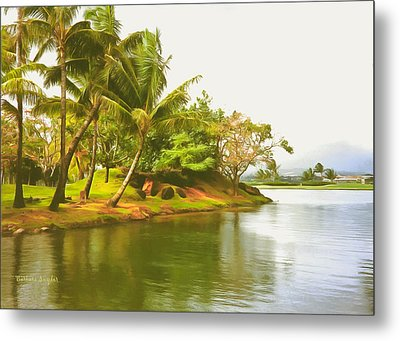 Tropical Island Palm Trees Metal Print by Barbara Snyder