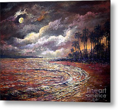Metal Print featuring the painting Tropical Moon by Lou Ann Bagnall