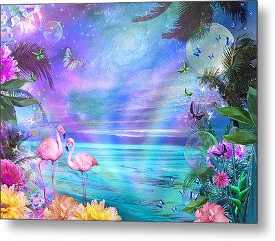 Tropical Moonlight Flamingos Metal Print by Alixandra Mullins