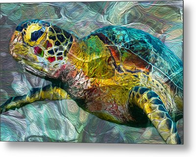 Tropical Sea Turtle Metal Print