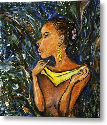 Metal Print featuring the painting Tropical Shower by Xueling Zou
