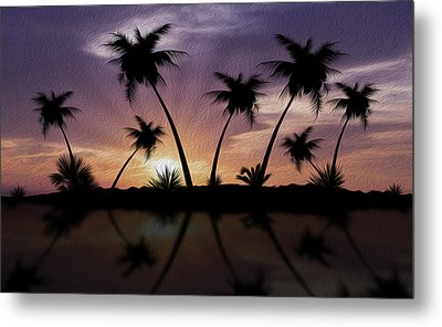 Tropical Sunset Metal Print by Aged Pixel