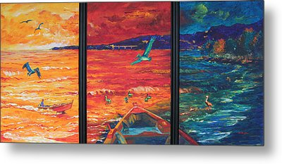 Tropical Trance Triptych Metal Print by Estela Robles Galiano