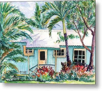 Metal Print featuring the painting Tropical Vacation Cottage by Marionette Taboniar