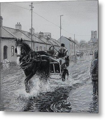 Trotting Thro The Floods Limerick 2014 Metal Print by Tomas OMaoldomhnaigh