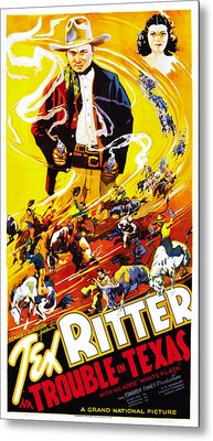 Trouble In Texas, Us Poster, From Left Metal Print by Everett