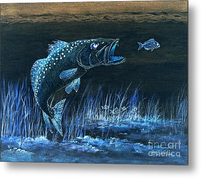 Trout Attack 1 In Blue Metal Print by Bill Holkham
