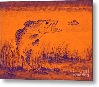 Trout Attack 2 In Orange Metal Print by Bill Holkham