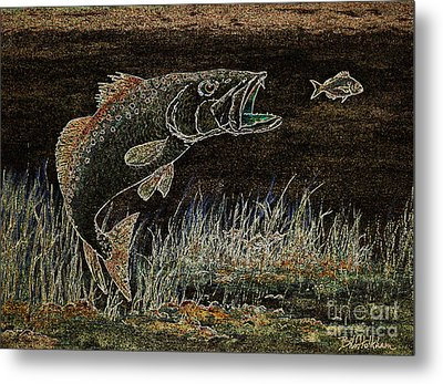 Trout Attack 3 In Brown And Gold Metal Print by Bill Holkham