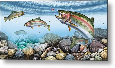 Trout Stream Metal Print by JQ Licensing