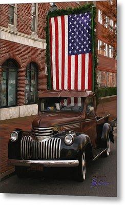 Truckin Old Glory Metal Print