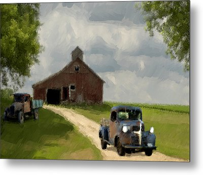 Trucks And Barn Metal Print