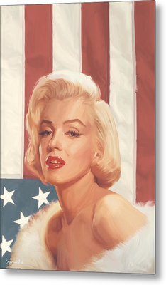 True Blue Marilyn In Flag Metal Print by Chris Consani