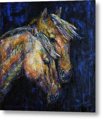 True Companions Contemporary Horse Painting Metal Print by Jennifer Godshalk