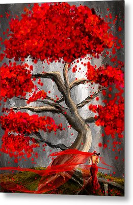 True Love Waits - Red And Gray Art Metal Print by Lourry Legarde
