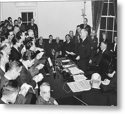 Truman Announces V-e Day Metal Print