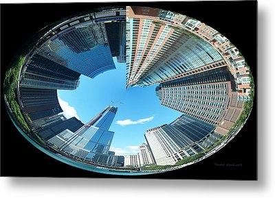 Trump Tower Under Construction Polar View Metal Print by Thomas Woolworth