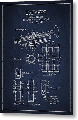 Trumpet Patent From 1939 - Blue Metal Print