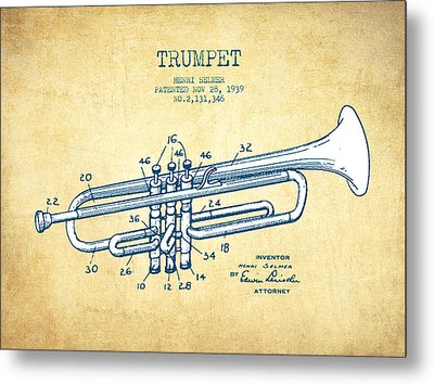 Trumpet Patent From 1939 - Vintage Paper Metal Print