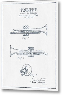 Trumpet Patent From 1940 - Blue Ink Metal Print by Aged Pixel