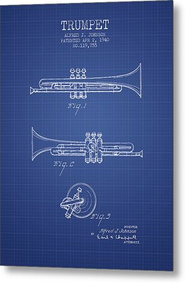 Trumpet Patent From 1940 - Blueprint Metal Print