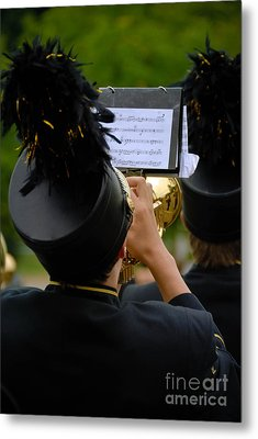 Trumpet Player In Marching Band Metal Print by Amy Cicconi