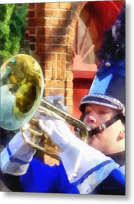 Trumpet Player In Marching Band Metal Print