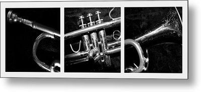 Trumpet Triptych Metal Print by Photographic Arts And Design Studio