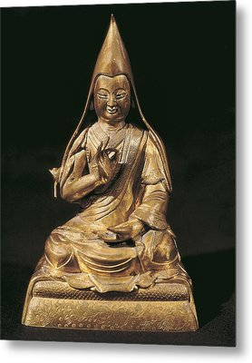 Tsong-kha-pa. 18th C. Golden Bronze Metal Print