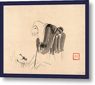 Tsuri Gitsune,  Drawing Shows A Fox Disguised As A Nun Metal Print by Japanese School