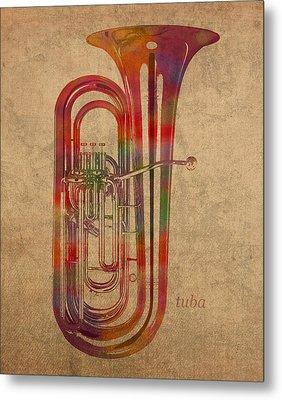 Tuba Brass Instrument Watercolor Portrait On Worn Canvas Metal Print by Design Turnpike