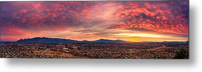 Tucson From A Hill Panorama At Dawn Metal Print