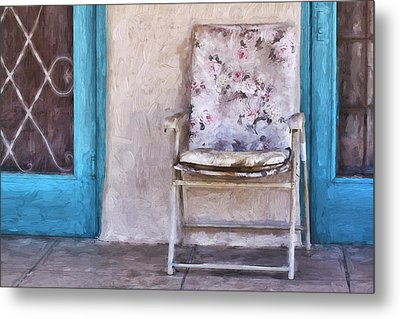 Tucson Front Porch Painterly Effect Metal Print by Carol Leigh