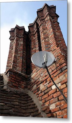 Tudor Chimneys With Satellite Dish Metal Print by Cordelia Molloy