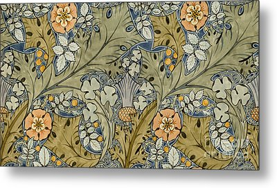 Tudor Roses Thistles And Shamrock Metal Print by Voysey