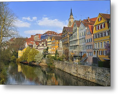 Tuebingen Neckarfront With Beautiful Old Houses Metal Print