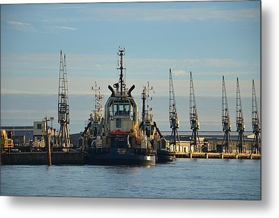 Tug Boat And Cranes Metal Print