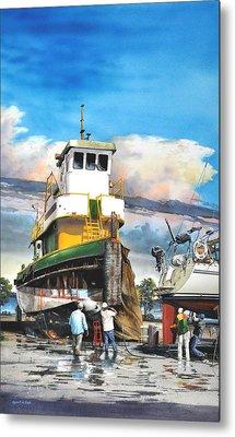 Tugboat Brown Gulf Metal Print