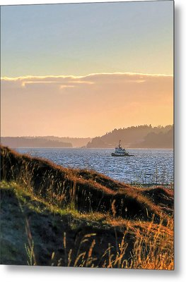 Tugboat Twilight - Chambers Bay Golf Course Metal Print by Chris Anderson