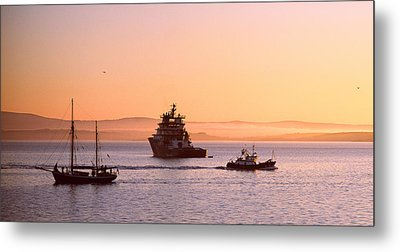 Tugboat With A Trawler And A Tall Ship Metal Print by Panoramic Images