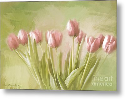 Metal Print featuring the painting Tulip Bouquet by Linda Blair