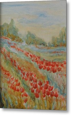 Metal Print featuring the painting Tulip Field by Jane  See