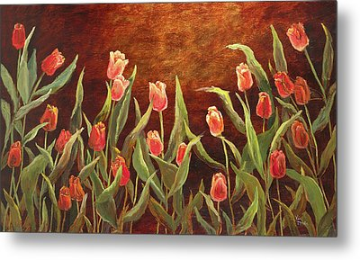 Metal Print featuring the painting Tulip Garden by Vic  Mastis