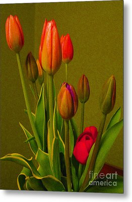 Tulips Against Green Metal Print
