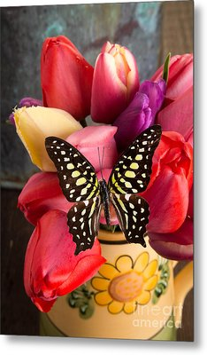 Tulips And Butterflies Metal Print by Edward Fielding