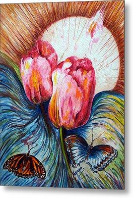 Tulips And Butterflies Metal Print by Harsh Malik